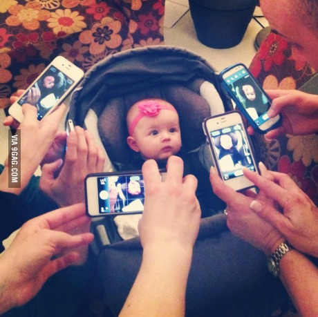 ♥ Baby being dragged into modern life!