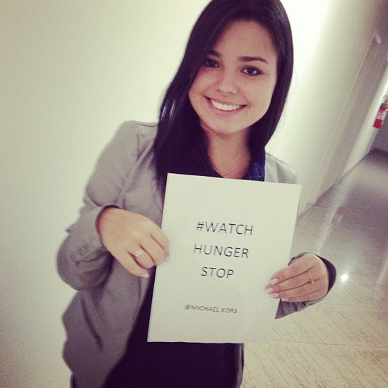 ♥  Bruna Baroni supports too ! Help us stop wordwide hunger, post a picture with the   hashtag #watchhungerstop